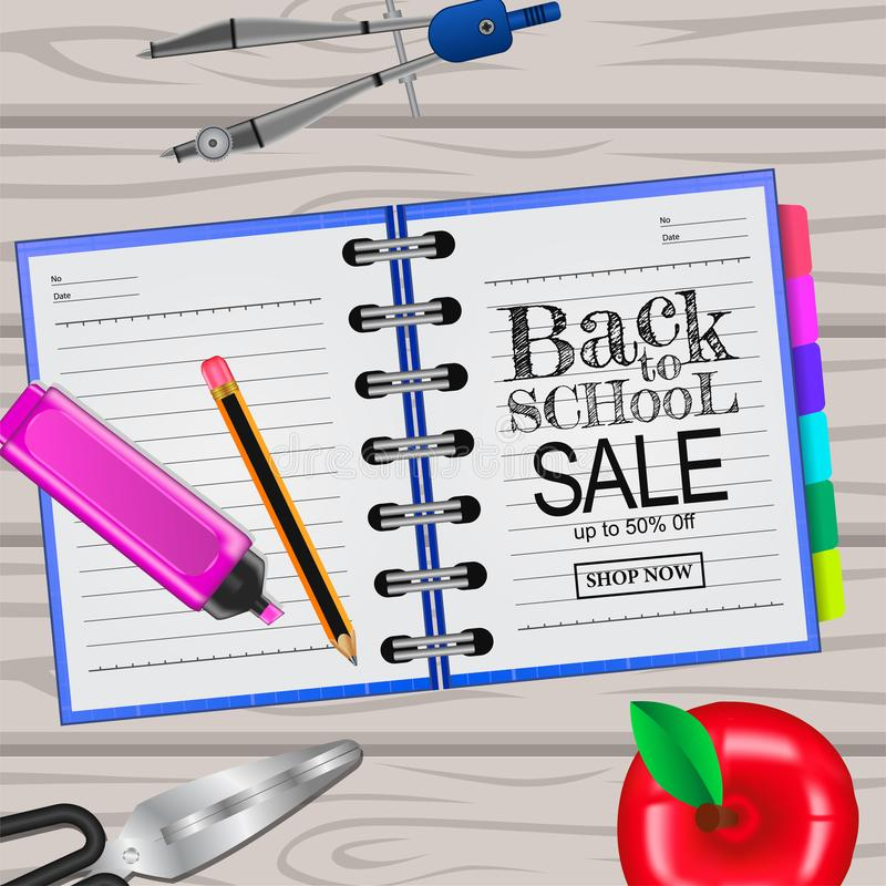 Welcome back to school ink on the notebook and 3D pencil, scissors, apple, compass from top view vector illustration