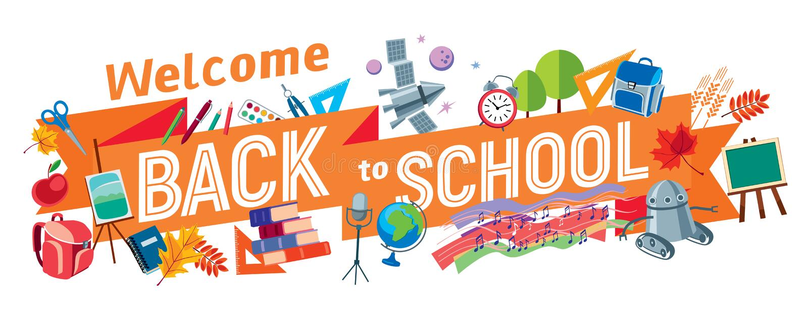 Welcome Back to School. An inscription on a blackboard tape surrounded by school subjects. Vector full color graphics. Vector full color graphics royalty free illustration