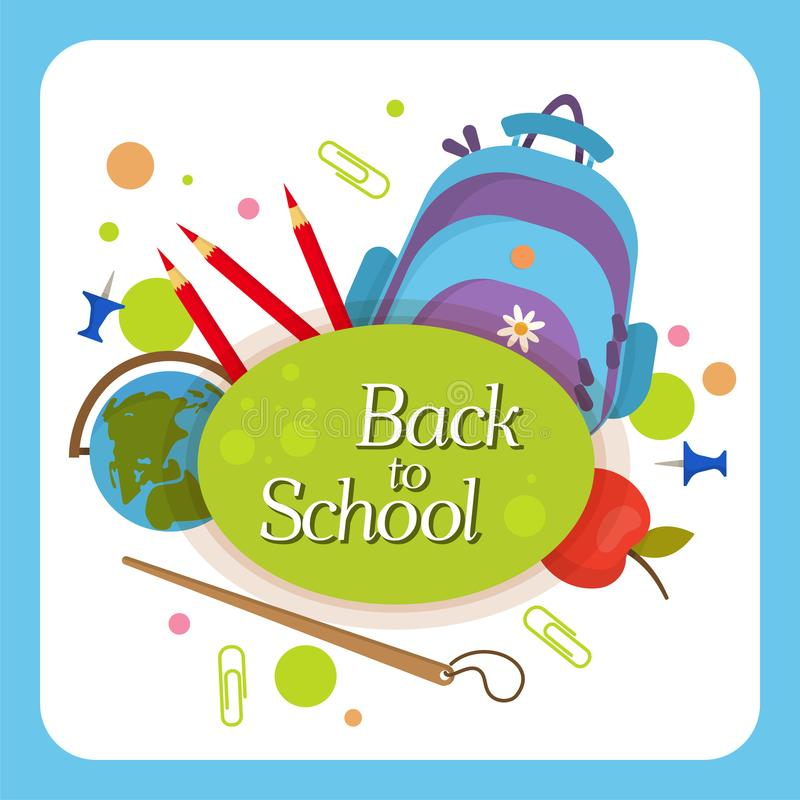 Welcome back to school label, badge stock illustration