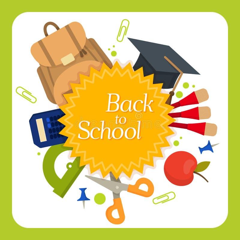 Welcome back to school label, badge vector illustration
