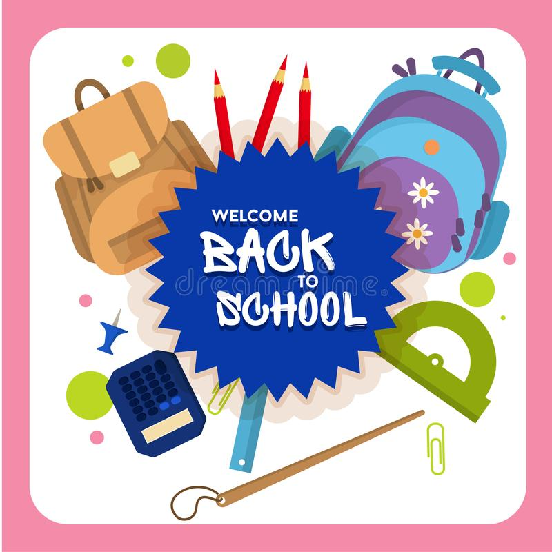 Welcome back to school label, badge royalty free illustration