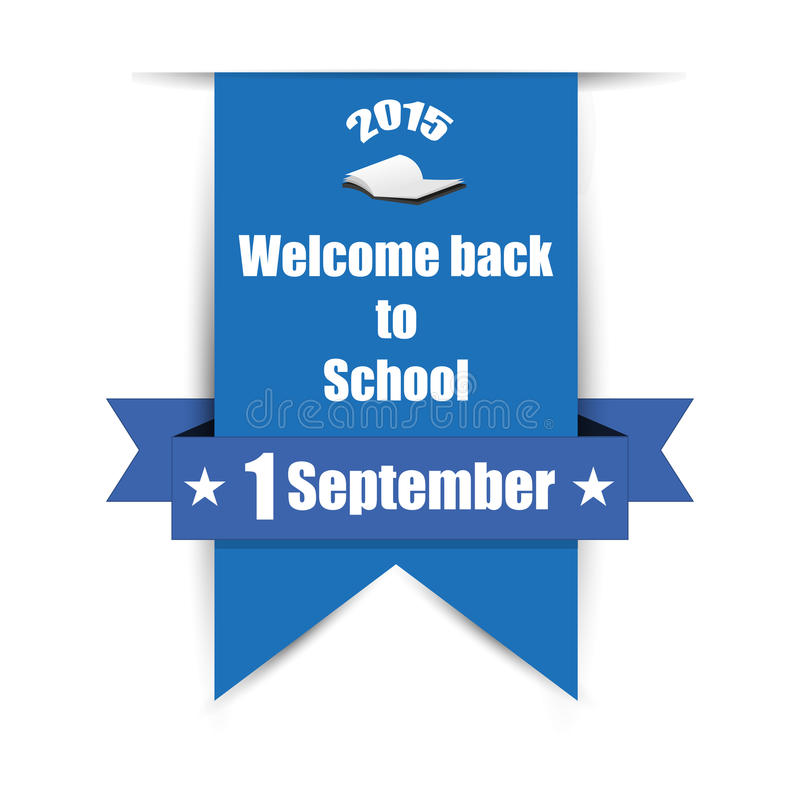 Welcome back to School on label. Label with shadow, Welcome back to School royalty free illustration