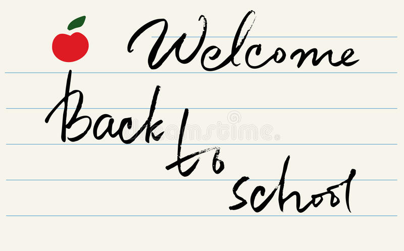 `welcome back to school`` lettering. vector stock illustration