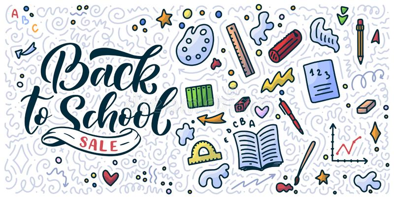 Welcome back to school lettering quote and doodle background. Template for sale tag. Hand drawn badge. Education concept. vector illustration