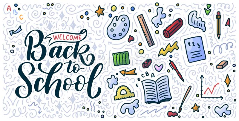 Welcome back to school lettering quote and doodle background. Template for sale tag. Hand drawn badge. Education concept. Welcome back to school lettering quote royalty free illustration