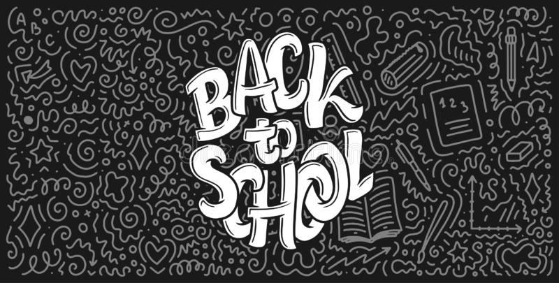 Welcome back to school lettering quote and doodle background. Template for sale tag. Hand drawn badge. Education concept. Welcome back to school lettering quote stock illustration