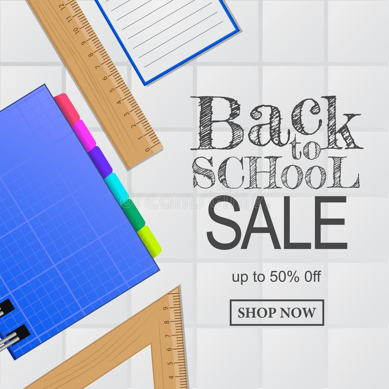 Welcome back to school sale offer banner. notebook, ruler, from top view royalty free illustration