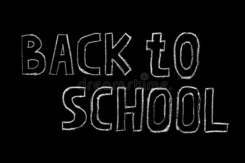 Welcome back to school sale vector hand drawn lettering inscription with decorative elements isolated on black background. Banner, blackboard, chalk, doodle royalty free stock images