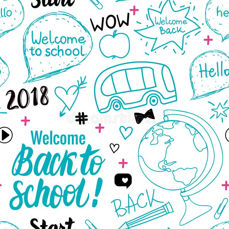 Welcome Back to school 2018 seamless pattern. Vector hand draw set elements isolated on white background. stock illustration