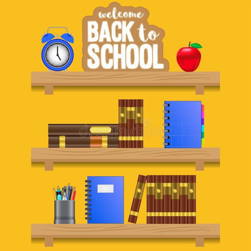 Welcome back to school shelves wooden with clock, apple, book, notebook, pencil case stock illustration