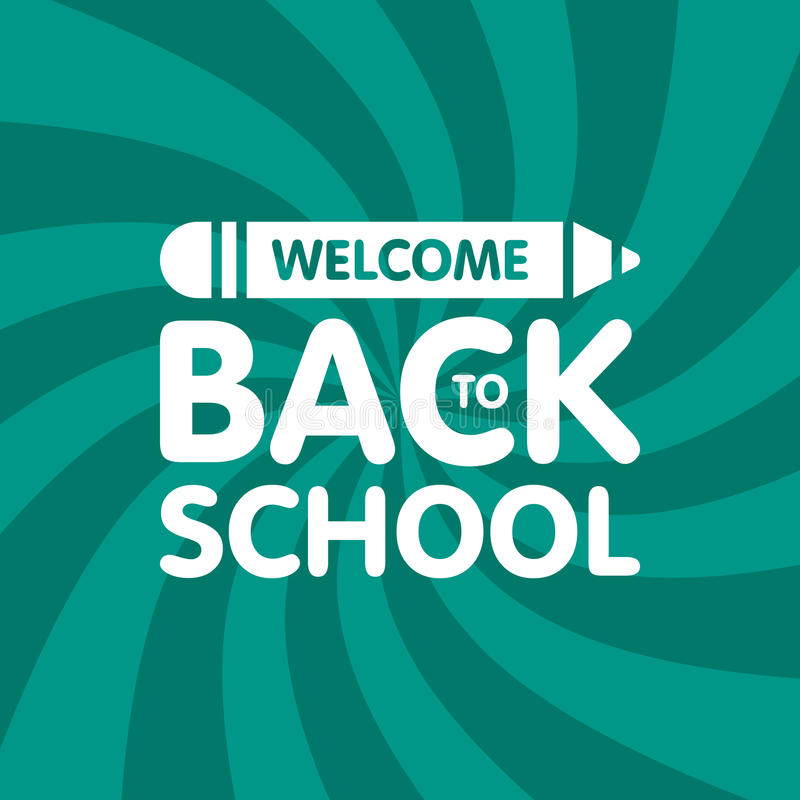 Welcome back to school sign logo with pencil. Education Vector illustration stock illustration