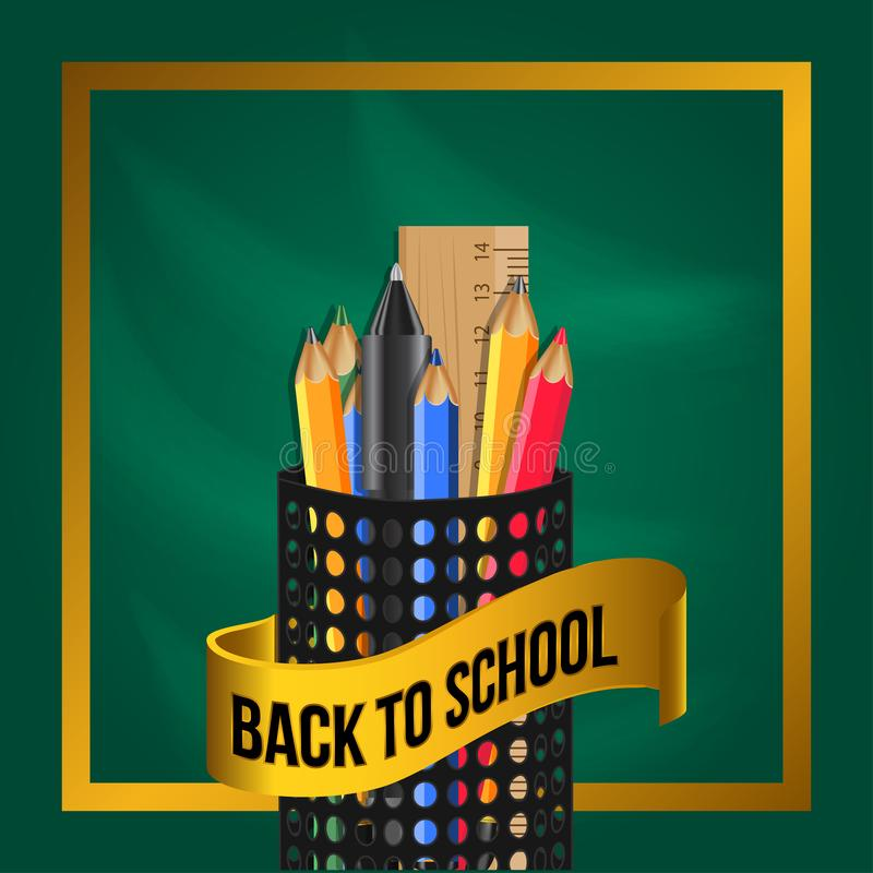 Welcome back to school with stationary pencil, marker, scissors, ruler, color group black pencil case. With golden ribbon with green chalkboard. Vector royalty free illustration