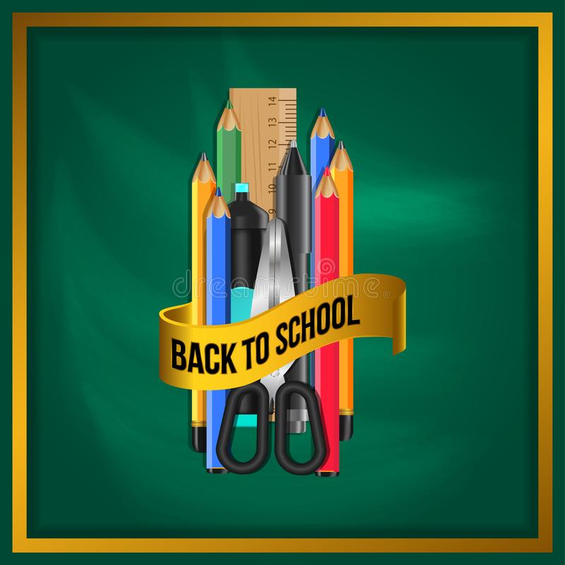 Welcome back to school with stationary pencil, marker, scissors, ruler, color group. With golden ribbon with green chalkboard. Vector illustration vector illustration