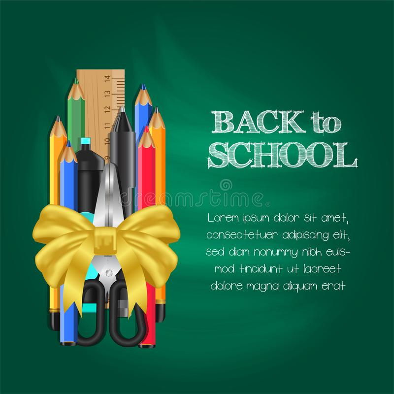 Welcome back to school with stationary pencil, ruler, scissors with golden ribbon gift stock photos