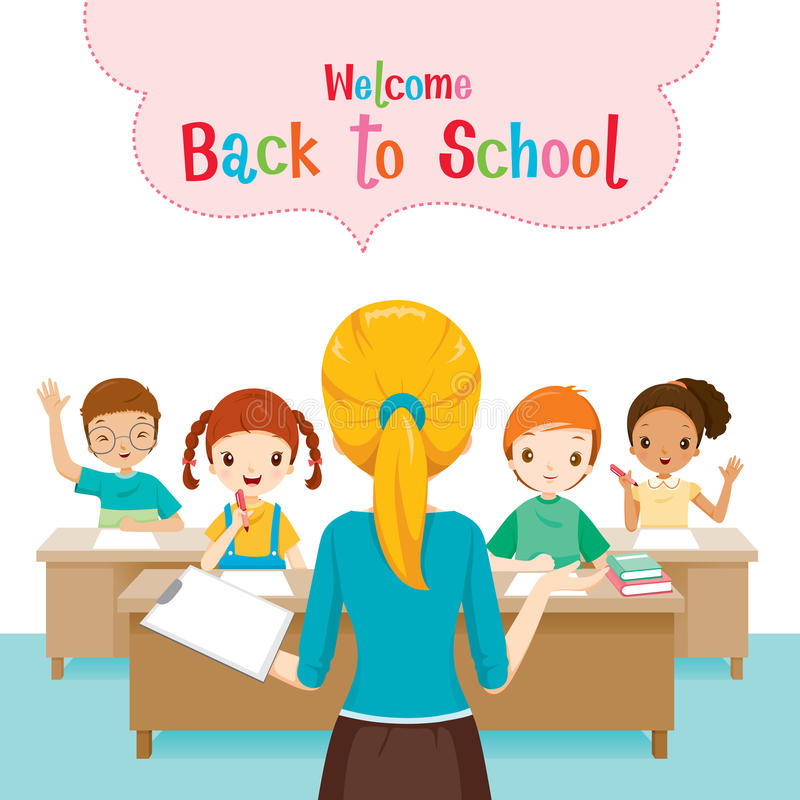 Welcome Back To School With Teacher Teaching Students In Classroom stock image