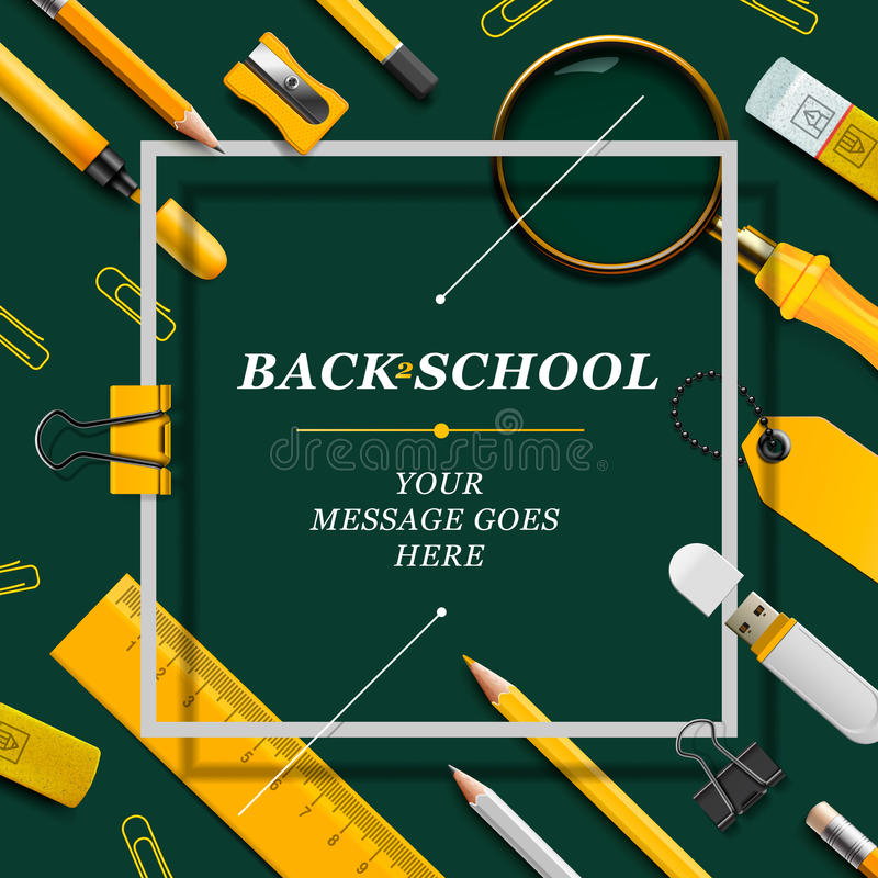 Welcome Back to school template with schools royalty free illustration