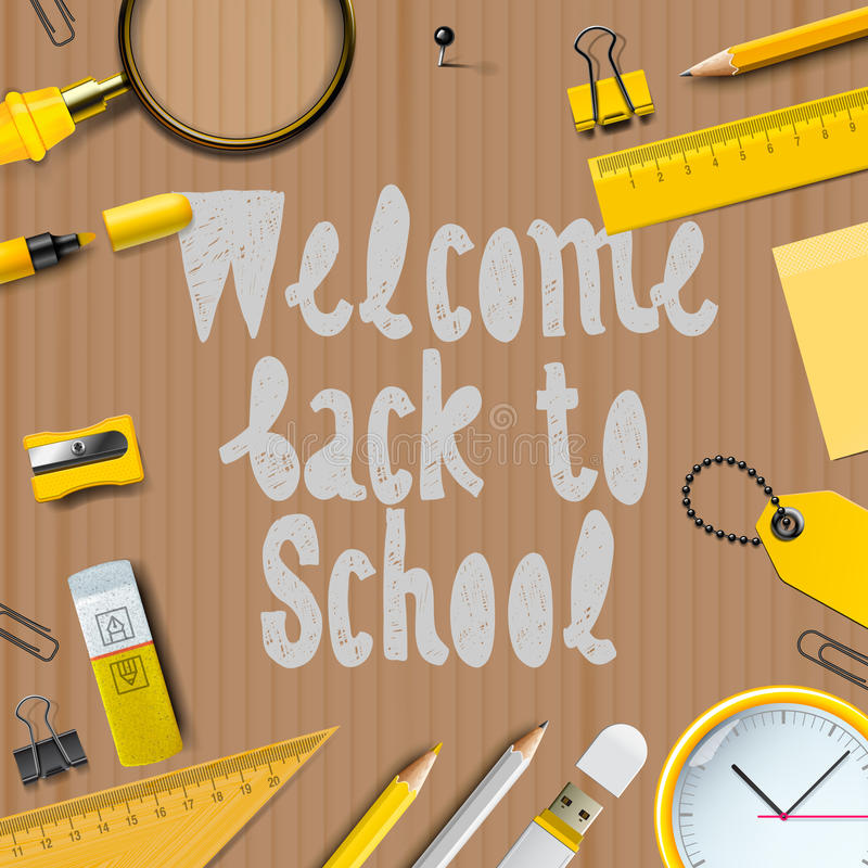 Welcome Back to school template stock illustration