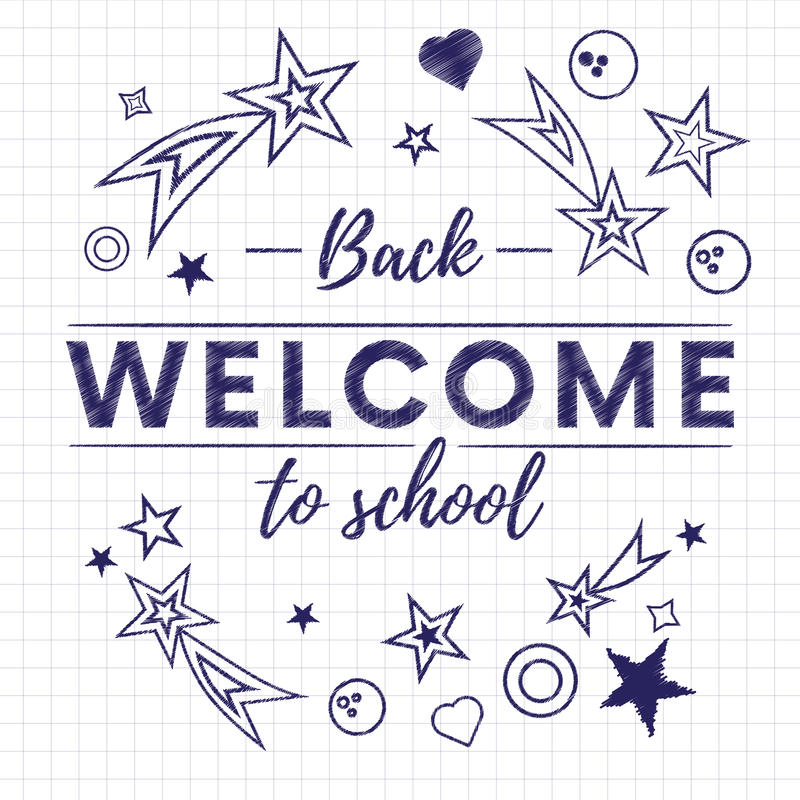 Welcome back to school text banner in white paper background with stars and signs.Vector. stock illustration