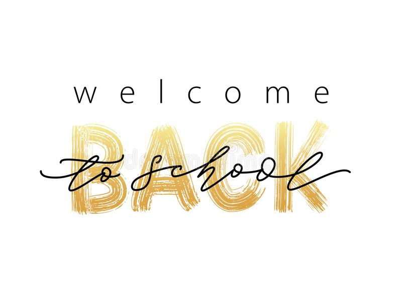 Welcome Back to School Text. Hand drawn brush lettering logo. Modern calligraphy. Vector illustration. vector illustration