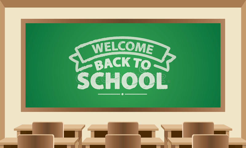 Welcome Back To School Text Symbol On Chalkboard With Classroom