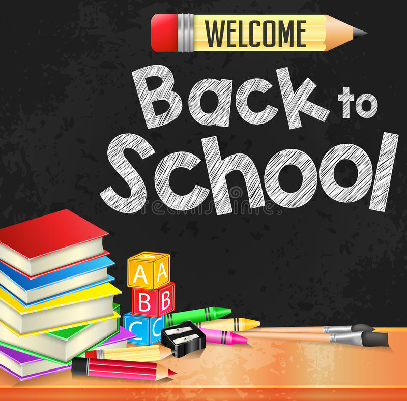 Welcome Back to School Text Written on Black Board Textured Background vector illustration