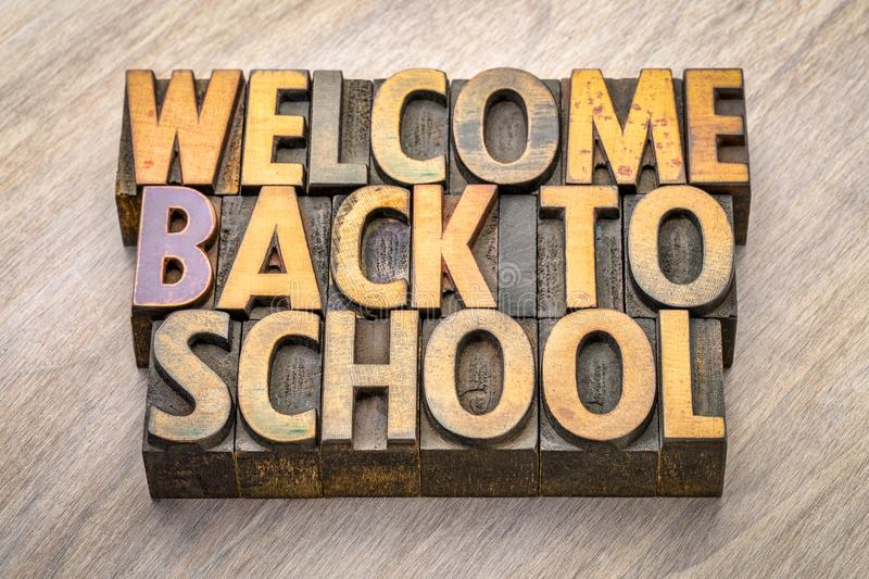 Welcome back to school word abstract in vintage wood type royalty free stock images