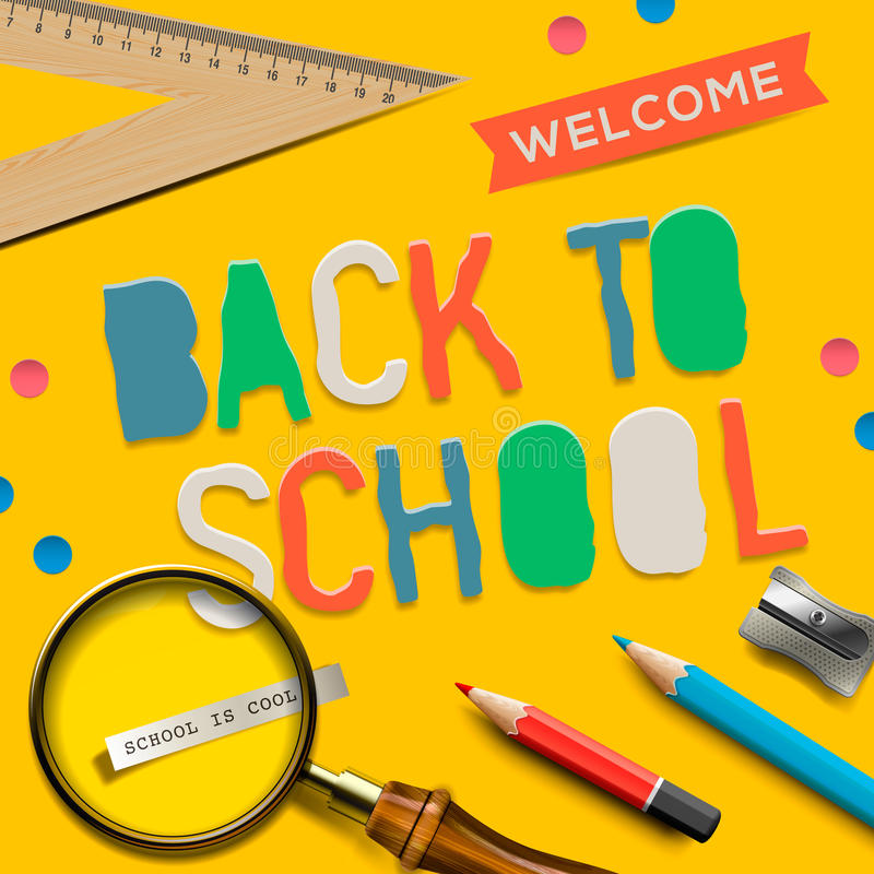 Download Welcome Back To School On Yellow Background Stock Vector - Image: 32226587