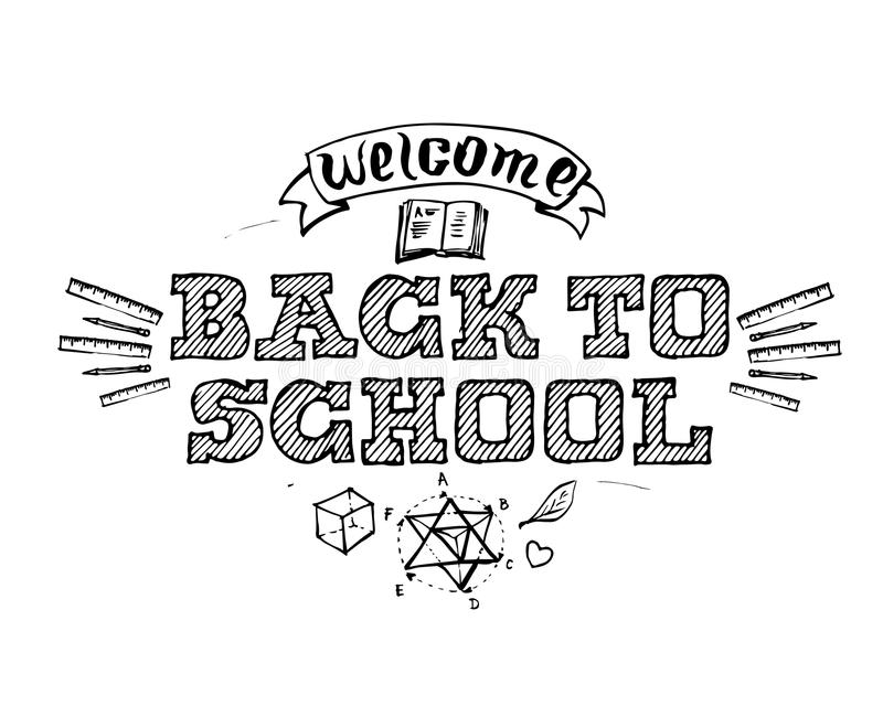 Welcome Back to Shool. Vector emblem with education design elements. vector illustration