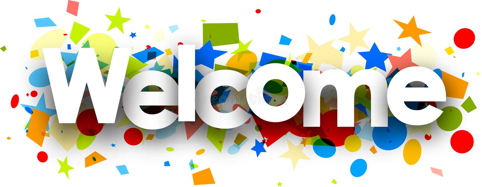 Welcome background with colorful confetti. stock illustration