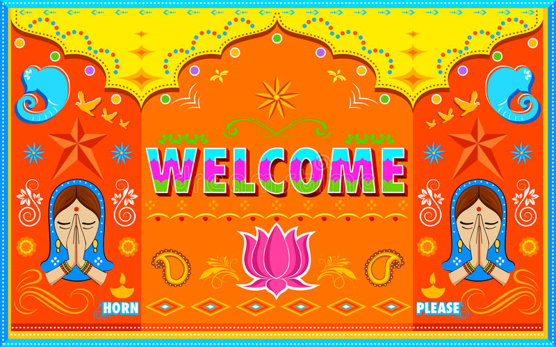 Welcome Background in Indian Truck paint style stock illustration