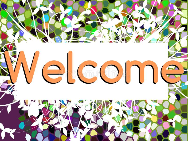 Welcome banner with floral fantasy royalty free illustration