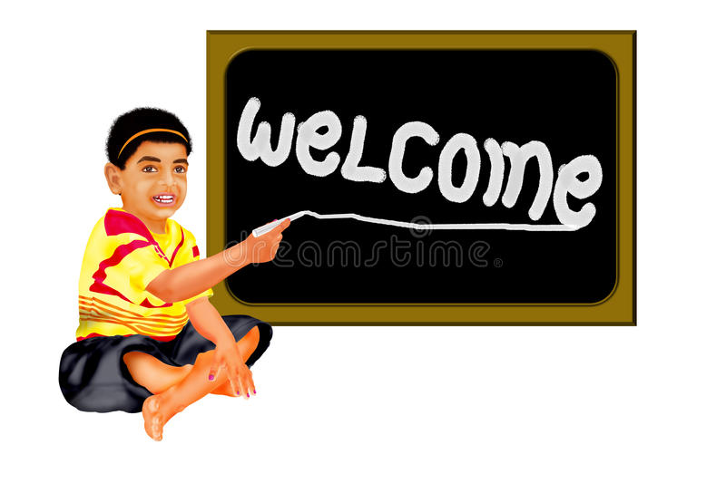 Welcome board. The boy writing text of welcome in the black board with chock pies this image designed by photo shop illustration