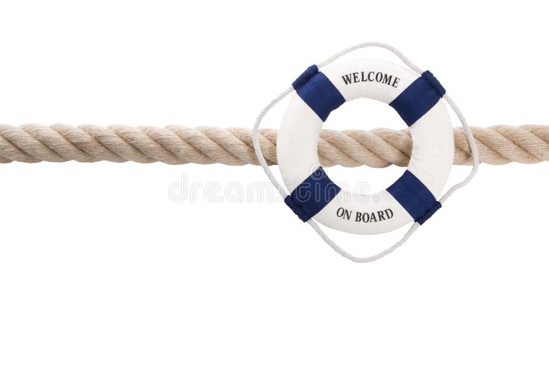 Welcome on board - isolated lifebelt for teamwork, holiday or tr. Say hello with a maritim white background for sailing or cruising royalty free stock image