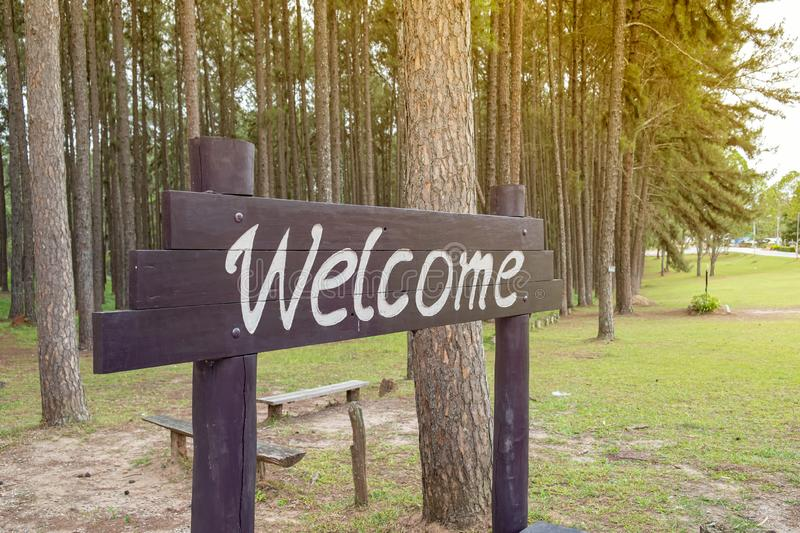 welcome board made of wooden stock images