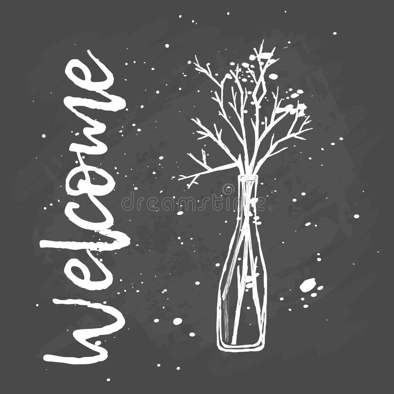 Welcome Branches In A Vase Hand Drawing Stock Illustration