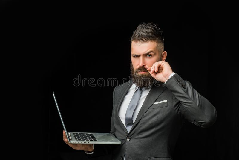 Welcome business. Handshake business man with Laptop. Business men in meeting. Welcome handshake. Corporate greeting stock photos