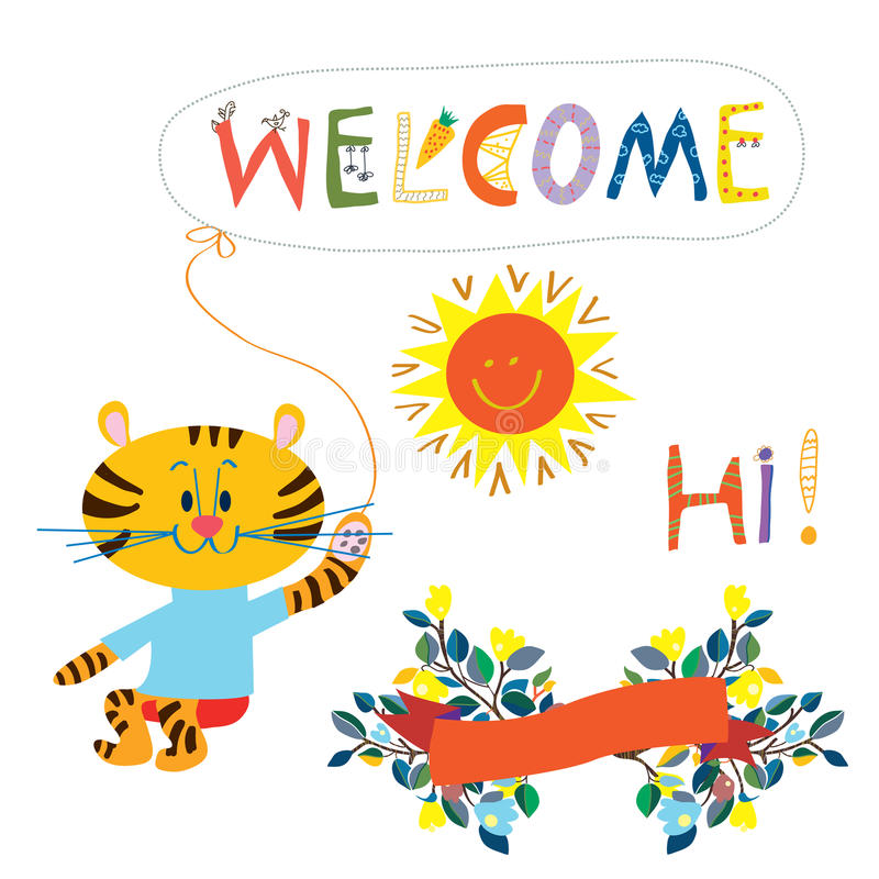Welcome card element for the baby - cute animal, flowers and s stock illustration