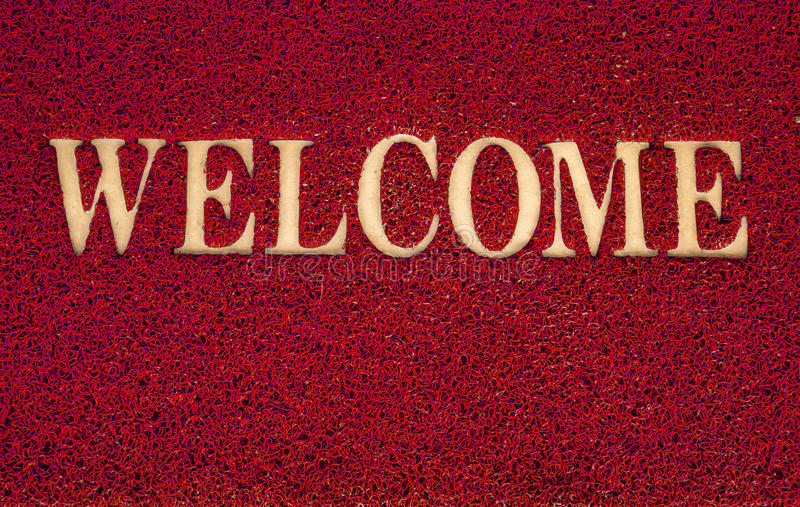 Welcome carpet at the door texture background. Welcome carpet at the door texture background stock photos
