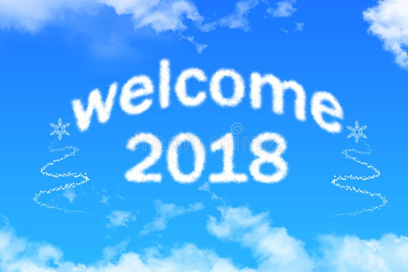 Welcome 2018 cloud text on blue sky royalty free stock photography