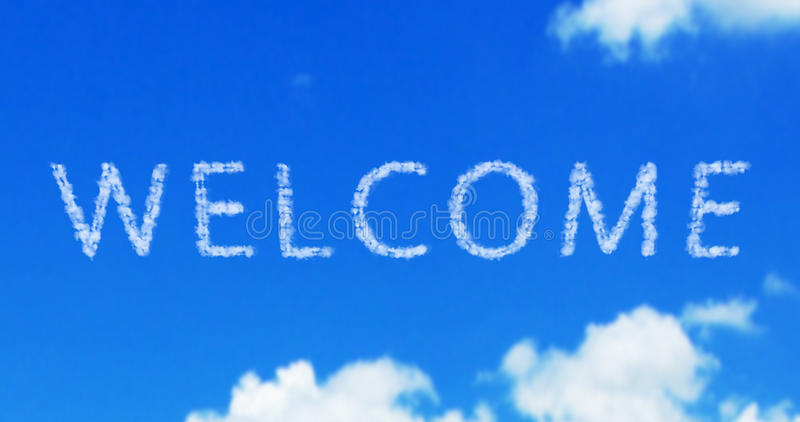 Welcome cloud word on the blue sky royalty free stock images