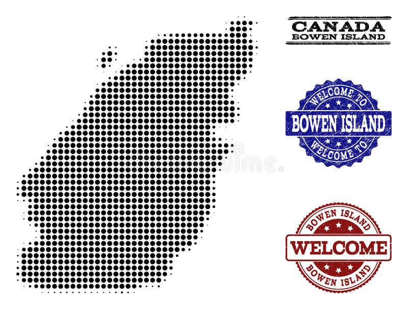 Welcome Composition of Halftone Map of Bowen Island and Textured Seals. Welcome collage of halftone map of Bowen Island and scratched seals. Halftone map of stock illustration