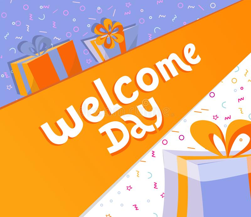 Welcome day lettering square banner with gift boxes. Black hand drawn Vector typography illustration. poster, banner royalty free illustration