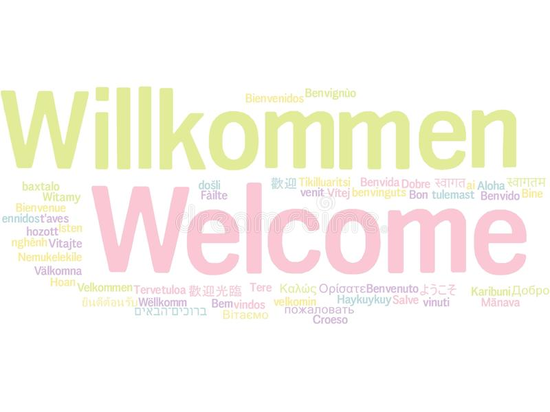 Welcome in different languages word cloud stock illustration