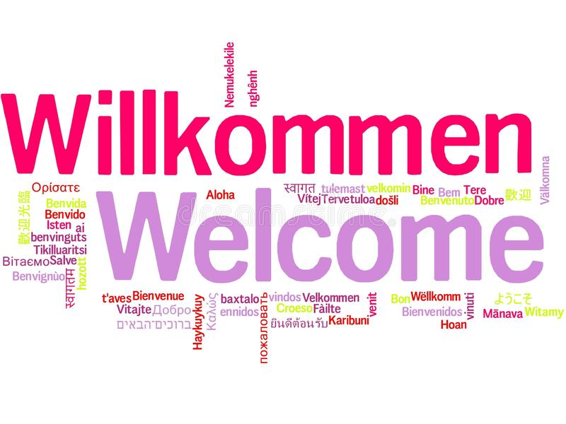 Welcome in different languages word cloud. A cloud of the word welcome greeting in different languages the more widely spoken translation in bigger fonts royalty free illustration
