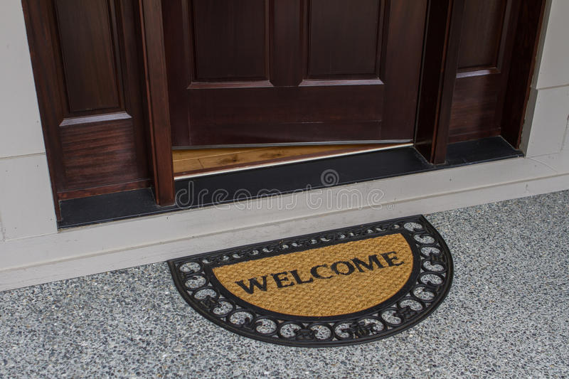 open door welcome mat. Download Welcome Door Mat With Open Stock Image - Of Arrival, Guest: C