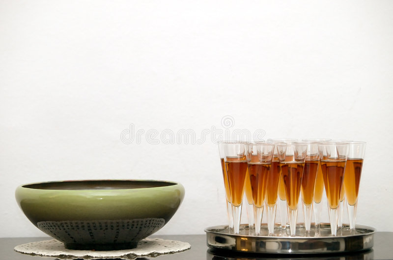 Welcome drink. Arranged detail against white wall. Welcome drink reception royalty free stock photos