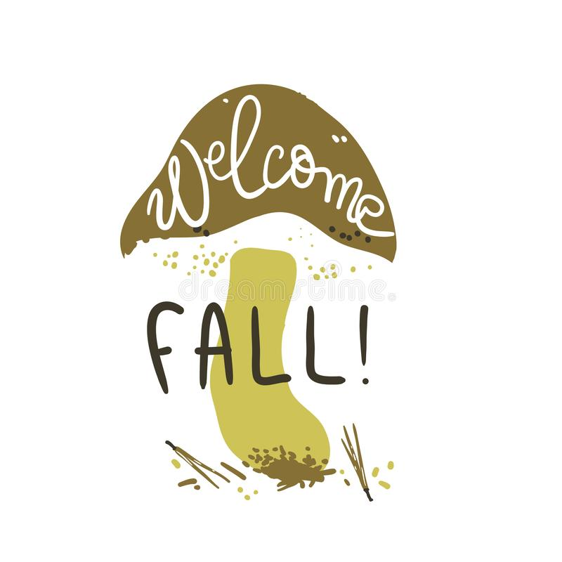 Welcome fall poster. Linocut old style. Hand drawn vector illustration. Mushroom shape background. royalty free stock images