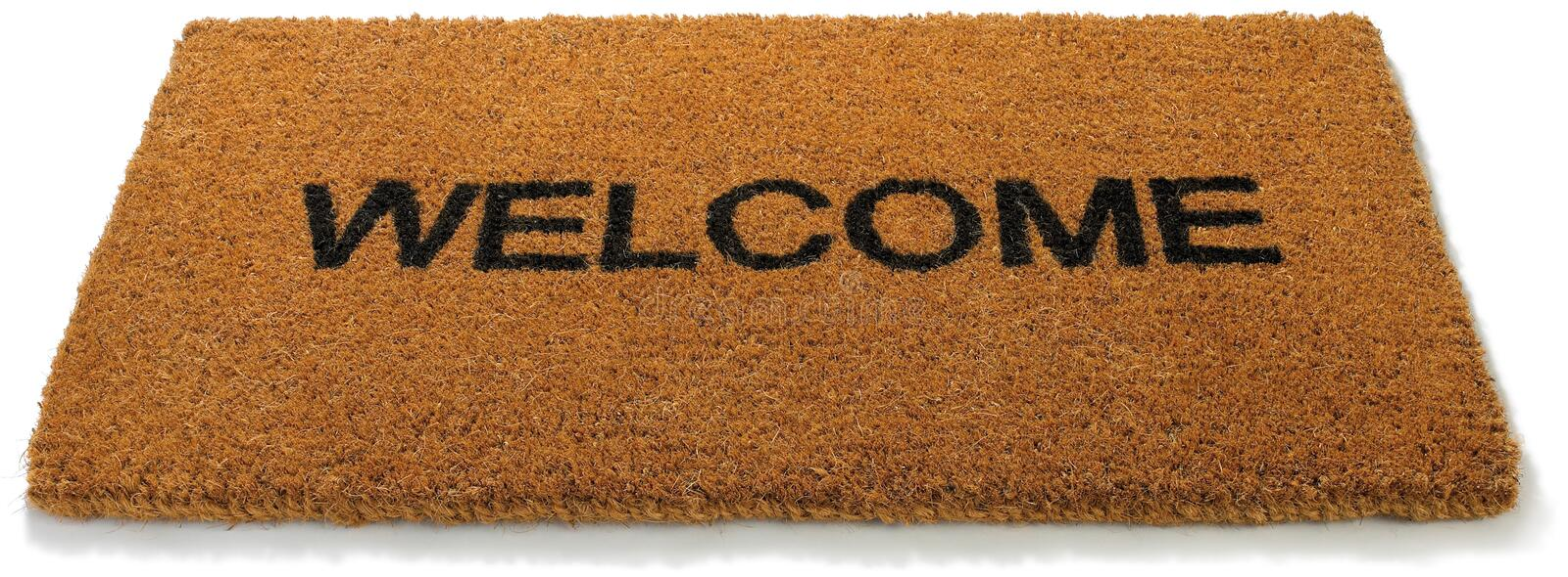 Welcome front door mat isolated white. A hessian welcome mat matt on a white background stock photos