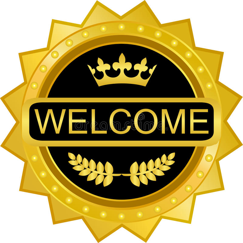 Welcome Gold Badge stock illustration
