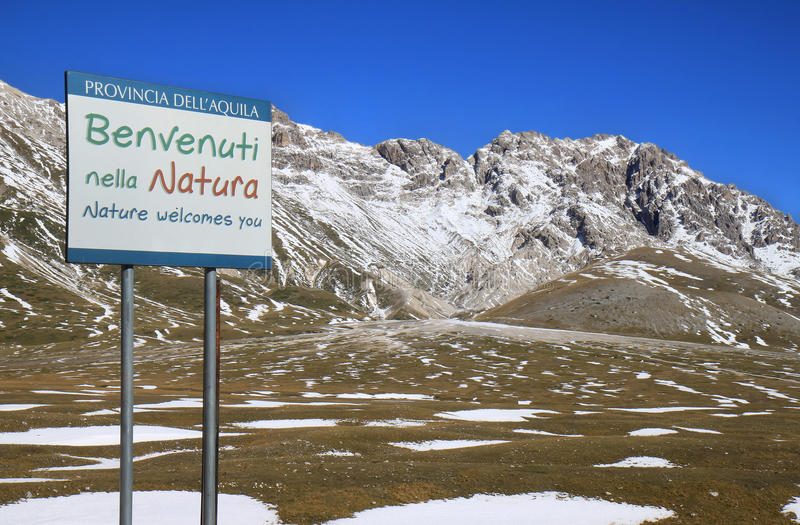 Welcome in Gran Sasso Park, Italy stock image